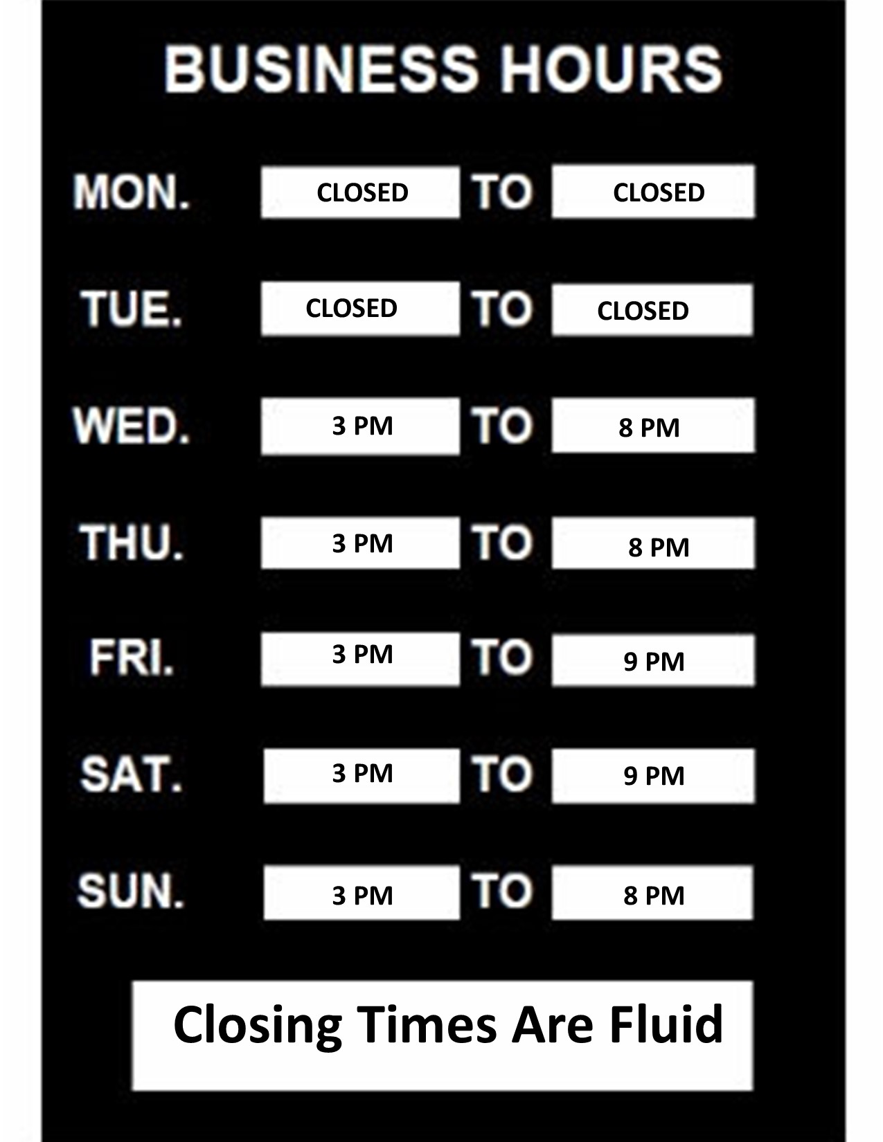 New Temporary Hours